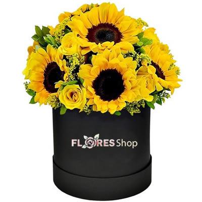 2384 Girassol e Rosas - Flowers Box Premium