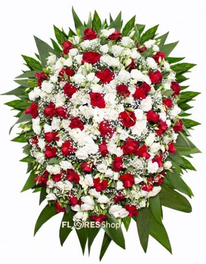 2387 Coroa de Rosas e lizianthus