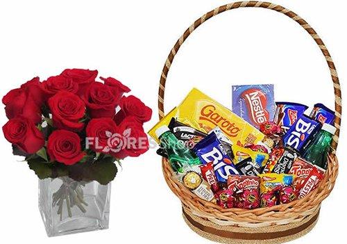 399 Rosas e Cesta de Chocolates