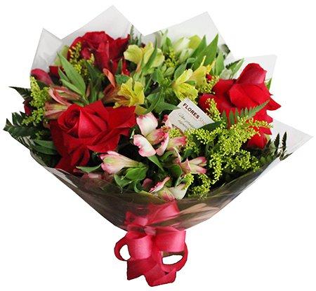 429 Mini Buque 3 rosas e Alstromélias