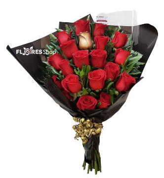 5506 Buquê personalizado 14 rosas douradas + 1 vermelha + Brigadeiros Gourmet