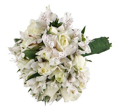 596 Buquê Noiva Rosas e Alstromelia