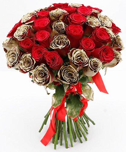 818 Rosas Douradas e Vermelhas